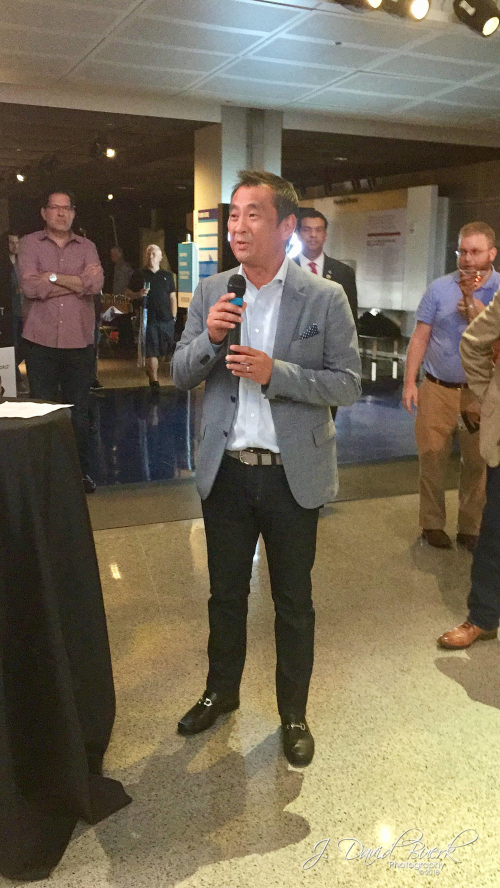 Nikon President and CEO Yasuyuki Okamoto welcomes guests to the Nikon Z 7 release event at the Newseum in Washington, DC.