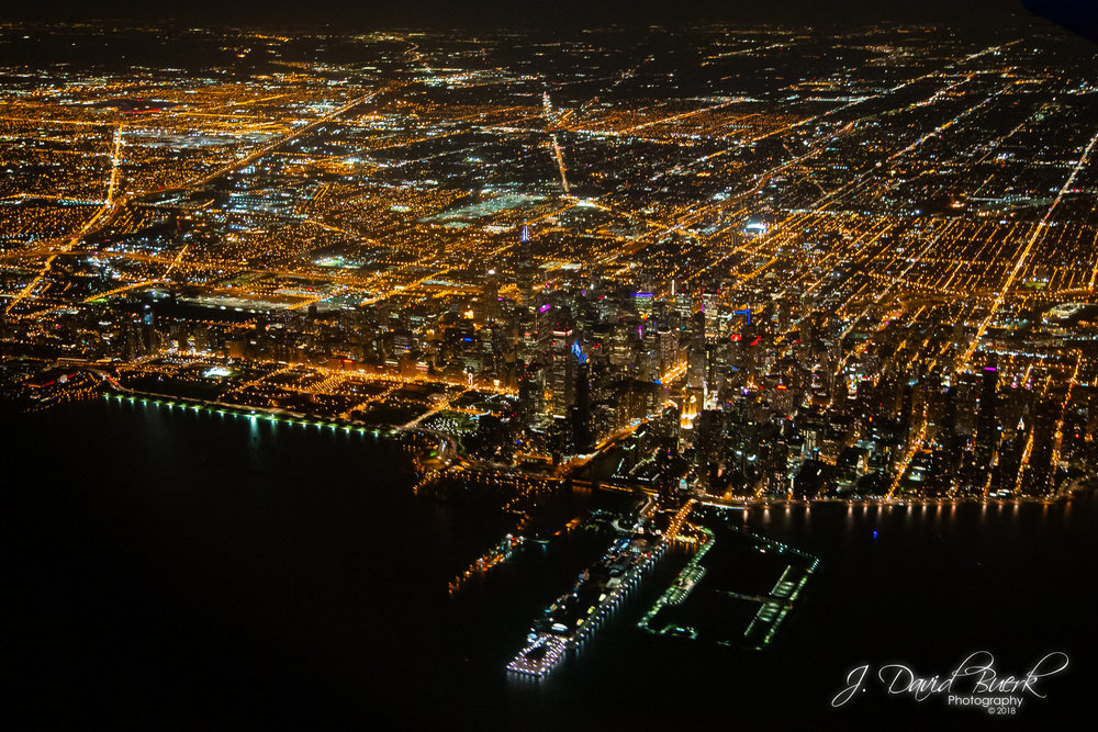 Downtown Chicago, Illinois at night, aerial.