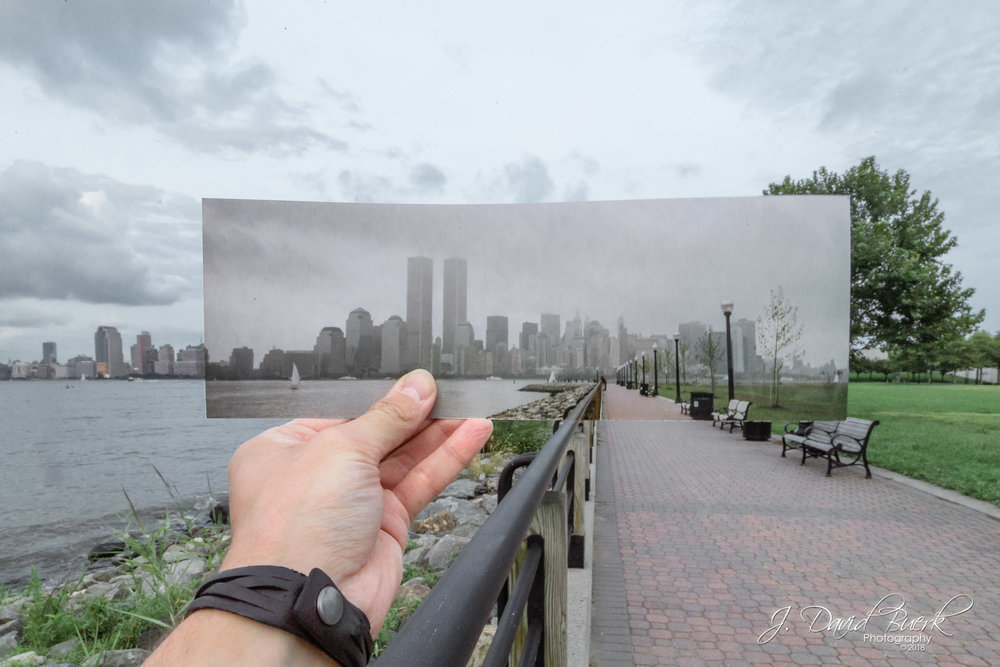 My September, 2000 print of New York City's World Trade Center Twin Towers held and photographed in the exact same spot in present-day Liberty State Park, Jersey City, New Jersey.