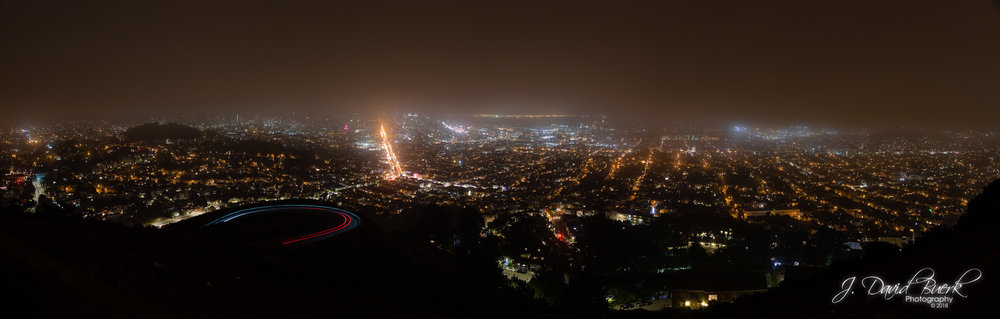 Aerial view of San Francisco, California from Christmas Tree Point, Twin Peaks, San Francisco, California.
