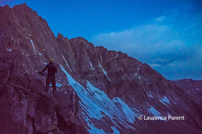 Checking out Granite Peak in the first light of morning from the saddle.
