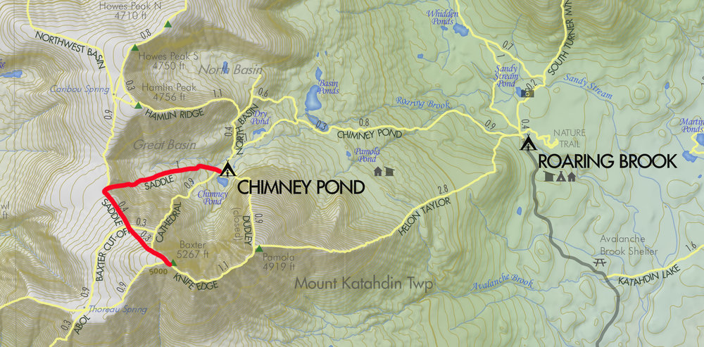 My summit route from Chimney Pond. Short but challenging.