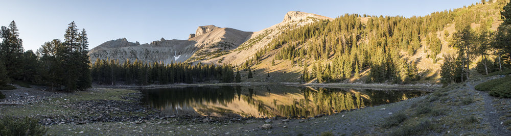 Stella Lake with my destination, Wheeler Peak in the background.
