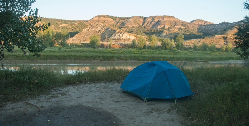 The view from my campsite at sunrise, looking across the Little Missouri River.