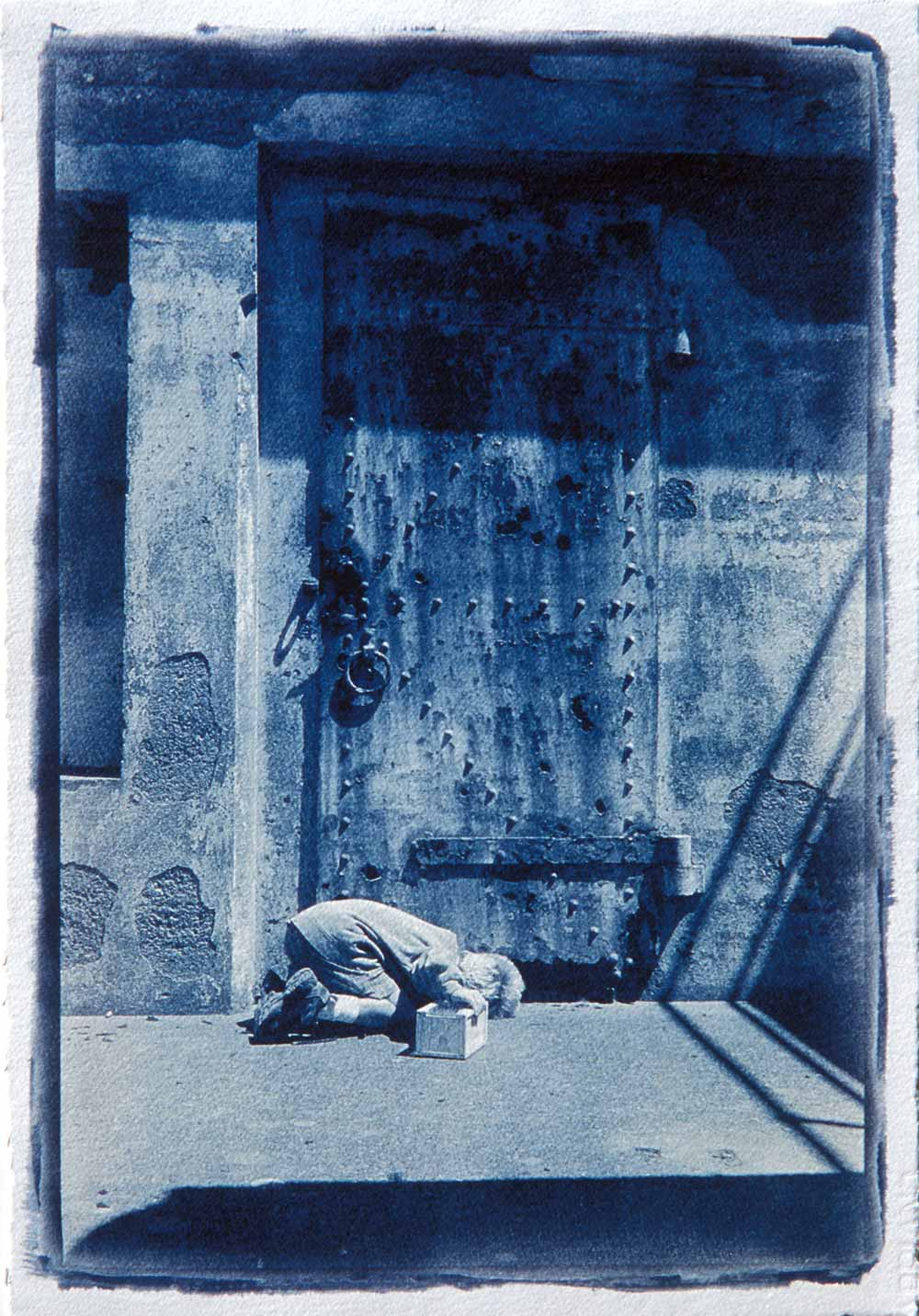 Cyanotype by Adrian Elwell: Boy and Door