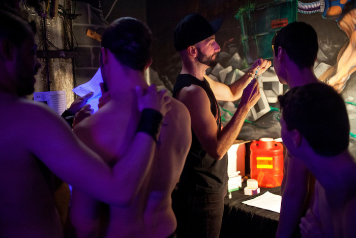 Doctor and gay activist Demetre Daskalakis administers free meningitis vaccinations at gay bars and sex clubs in New York City. (Source)