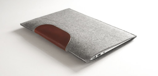 Wool Felt and Leather MacBook Air Sleeve (via byrd & belle)