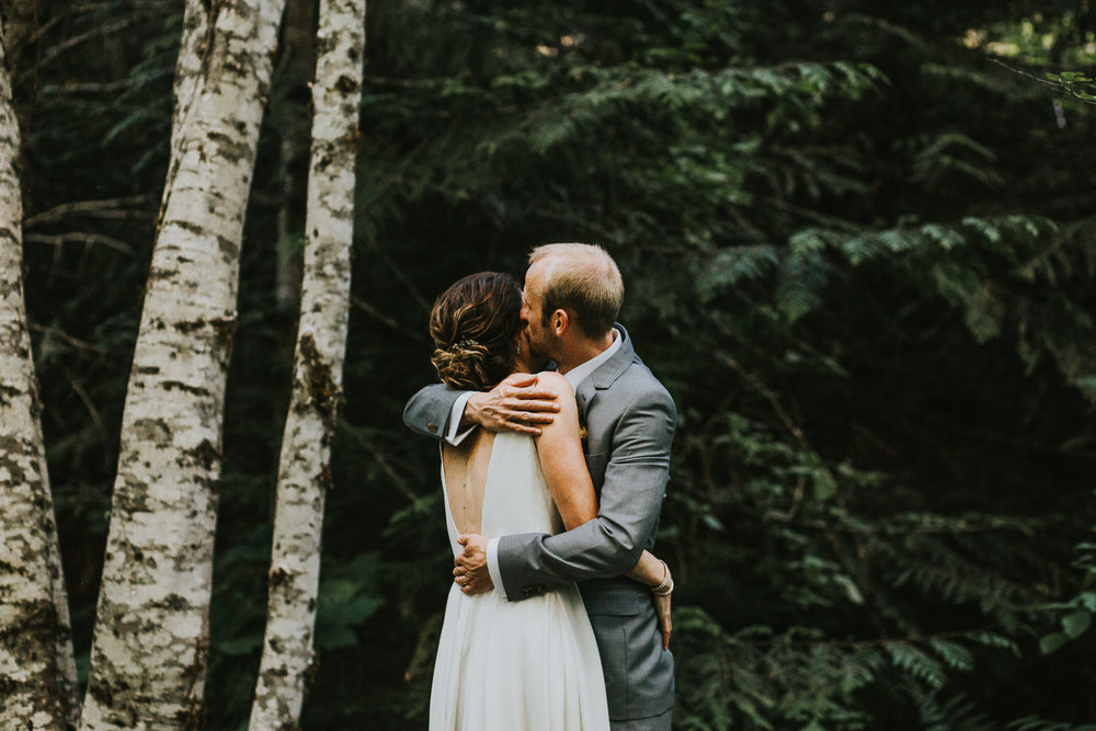 Bride and Groom in the Forest Banff Wedding