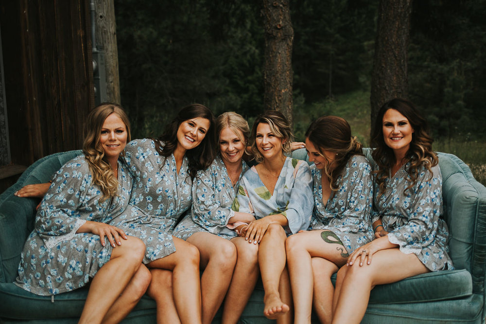 Bridesmaids floral robes getting ready Alberta ranch wedding