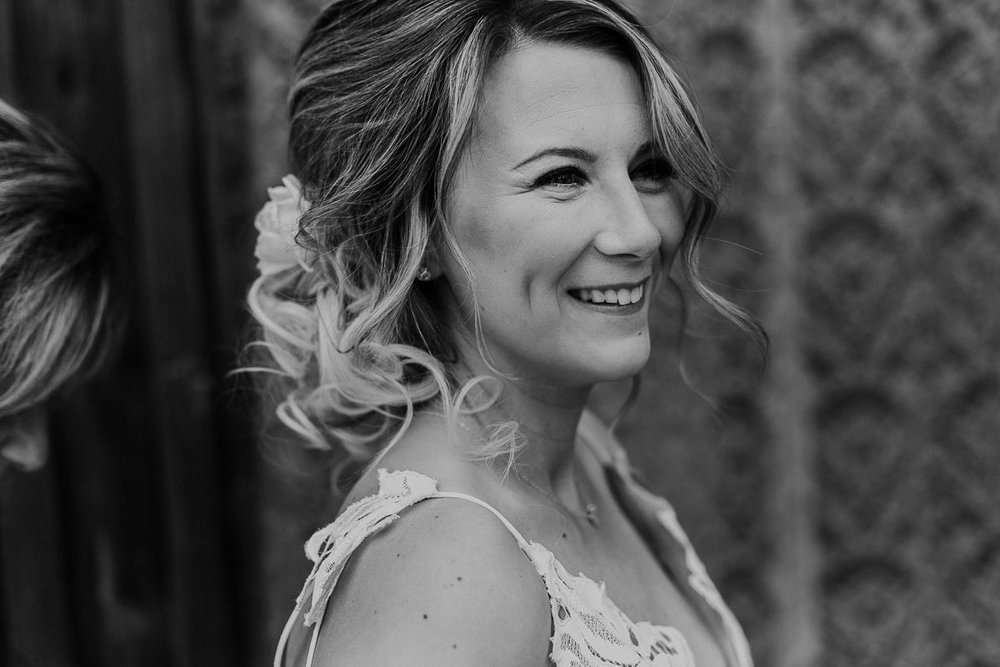 Black and white candid boho bride