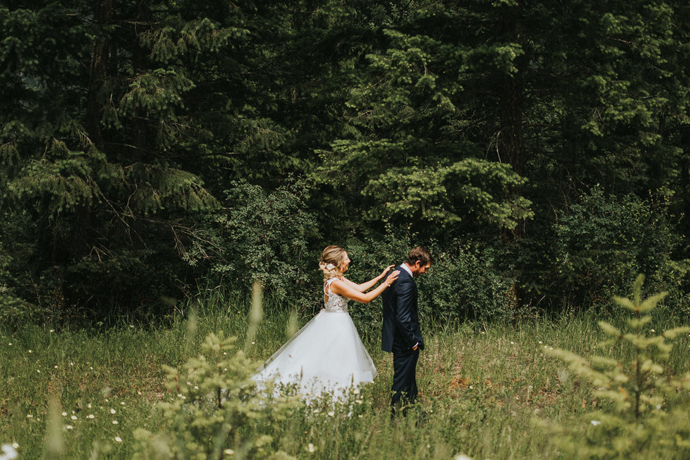 Bride and groom first look Calgary Alberta ranch wedding