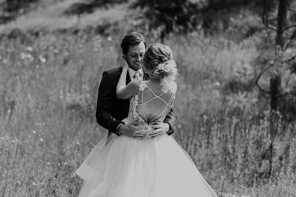 Bride and groom black and white emotional first look
