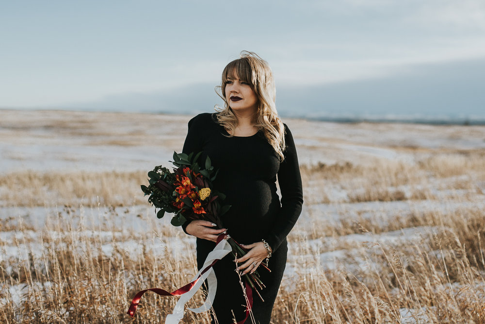 Black dress fall maternity session Calgary Alberta