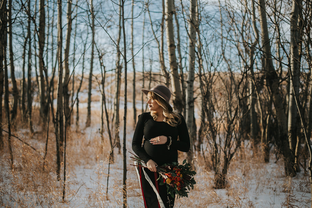 Fall maternity session in birch trees