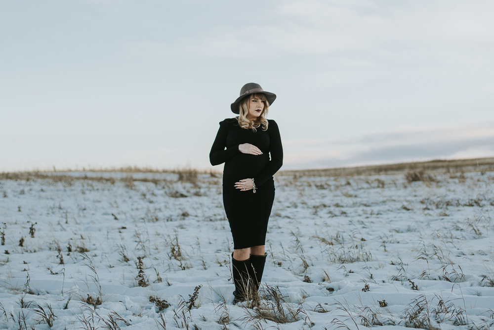 Moody winter maternity session