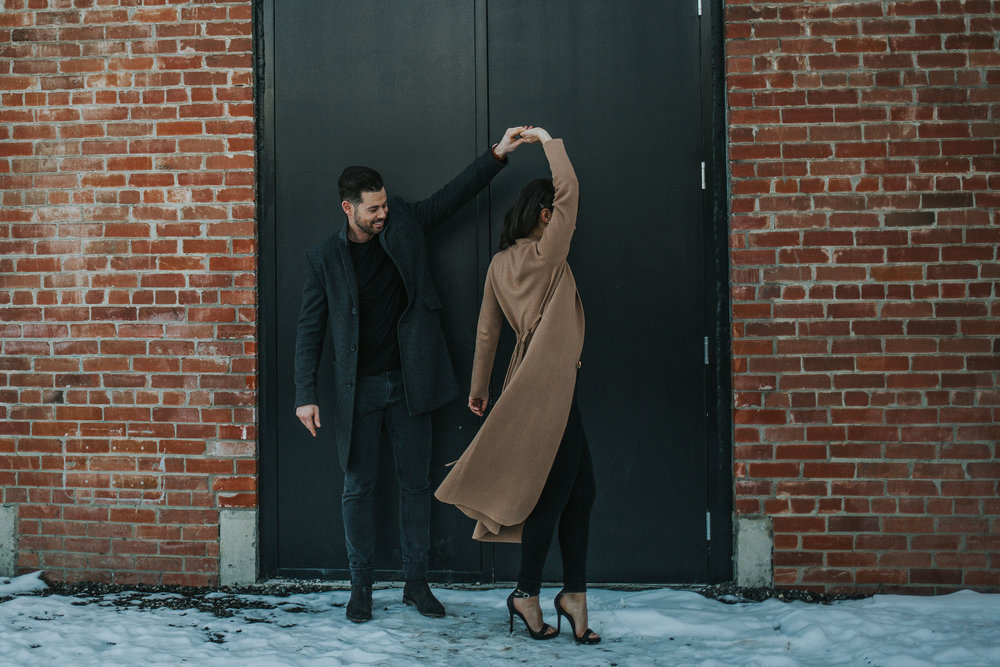 Calgary East Village winter engagement session