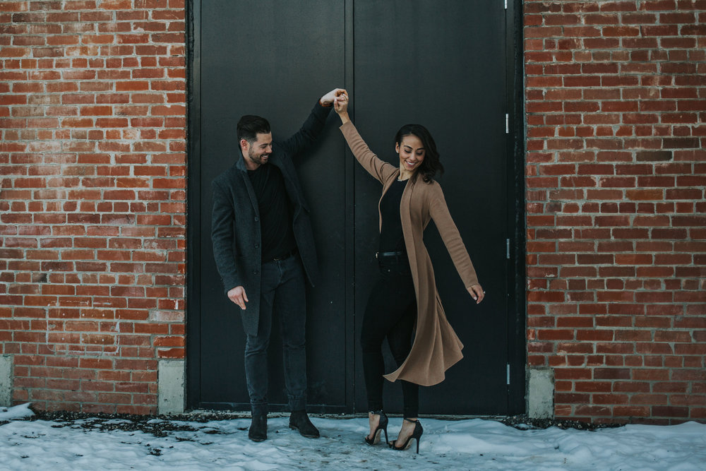 Calgary Alberta winter engagement session in the east Village