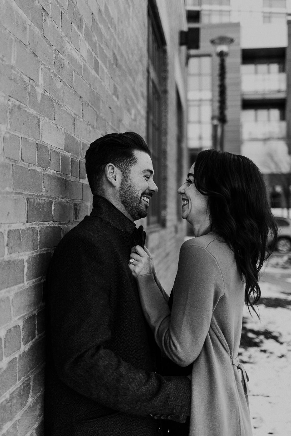 Black and white engagement photo in East Village Calgary