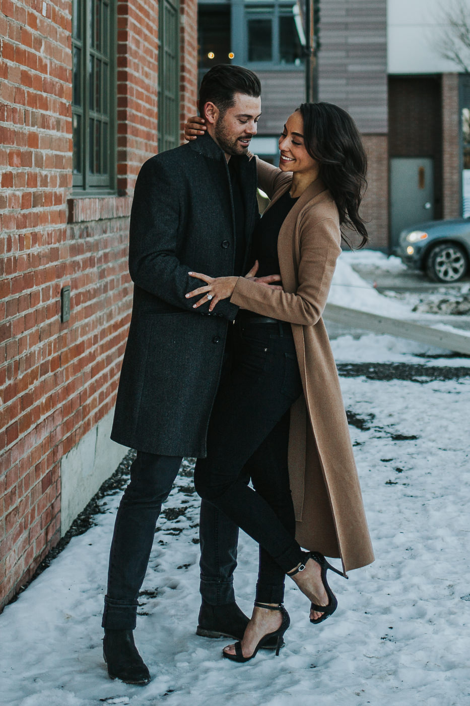 Winter engagement session in downtown Calgary