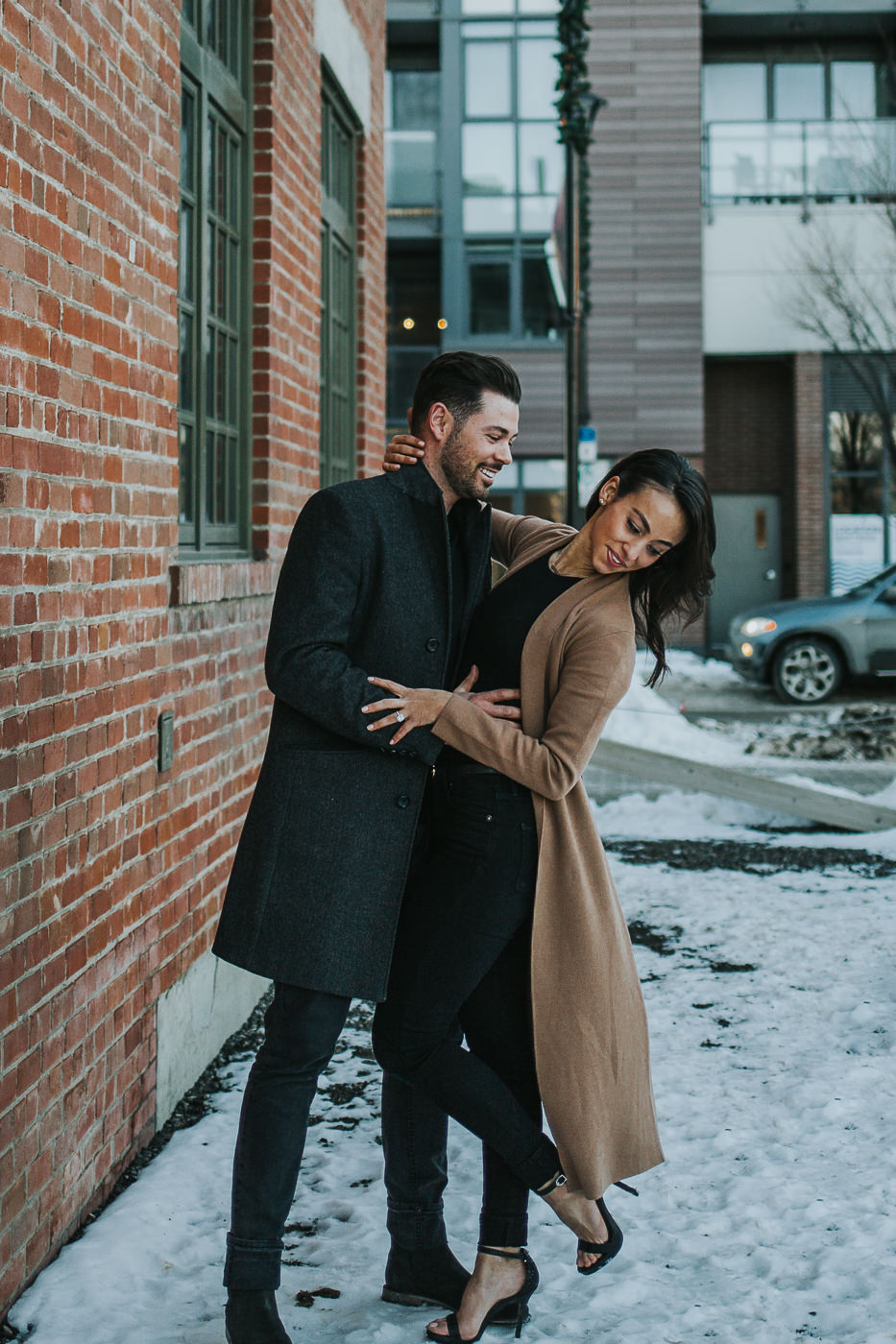 Couple having fun in the snow