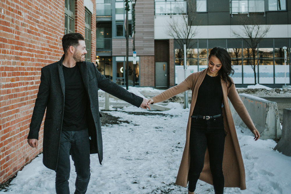 Snowy downtown Calgary engagement session