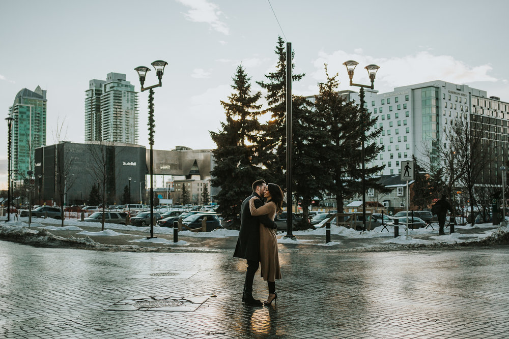 Sunset engagement session in Calgary's East Village