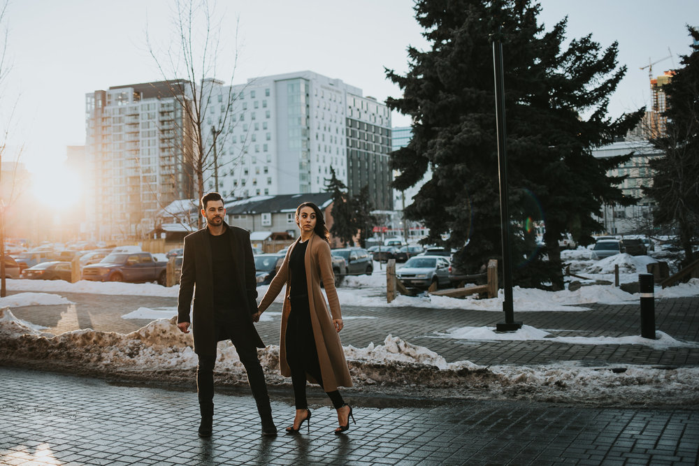 Sunset winter engagement session in Calgary