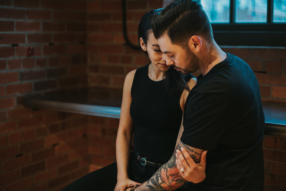 Engagement session at coffee shop in Calgary's East Village