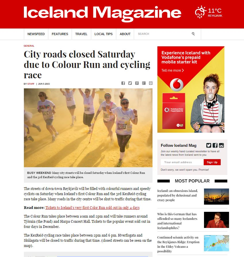 icelandmagazine City roads closed saturday.JPG