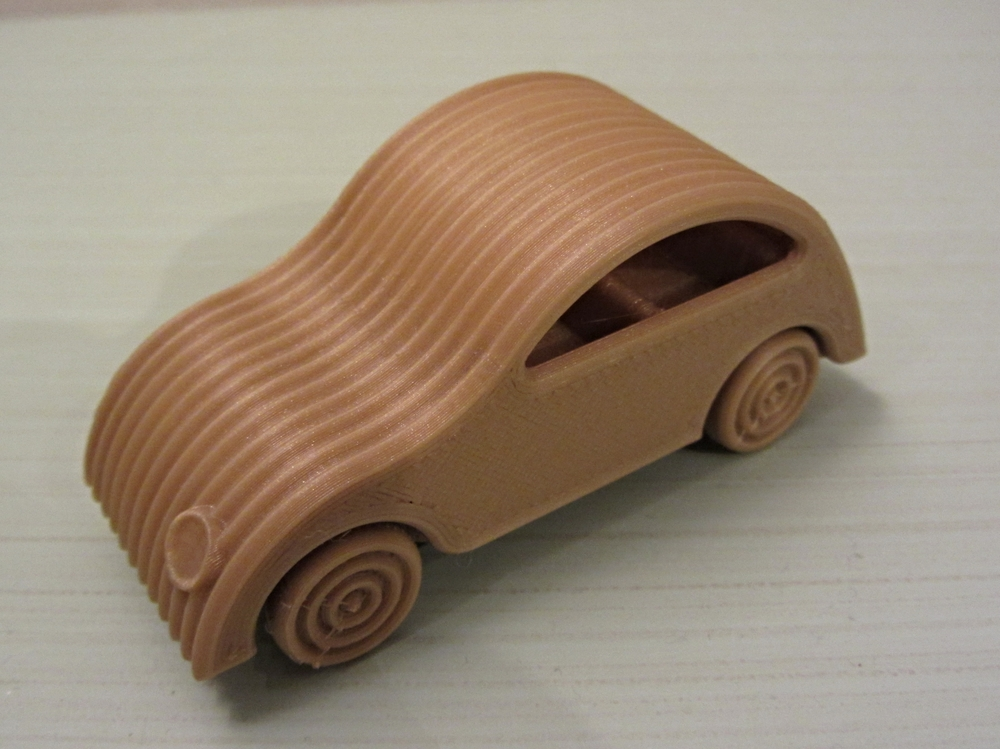 LIttle Toy Car   Makergear M2 - 0.10mm layer height - Gold PLA