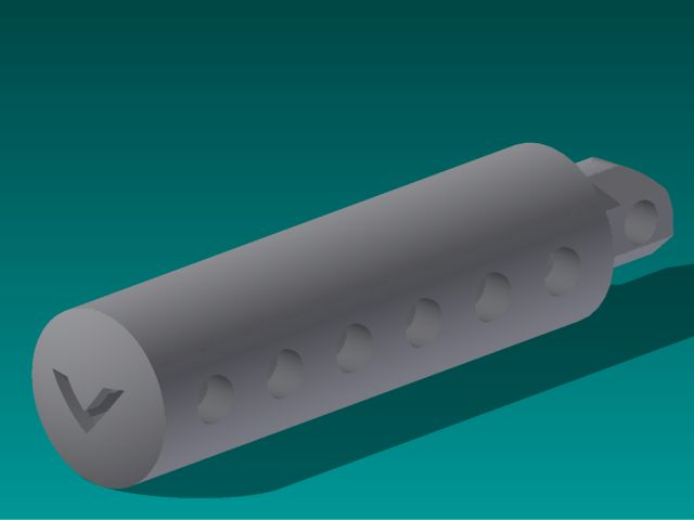 Rendered image of foot peg design