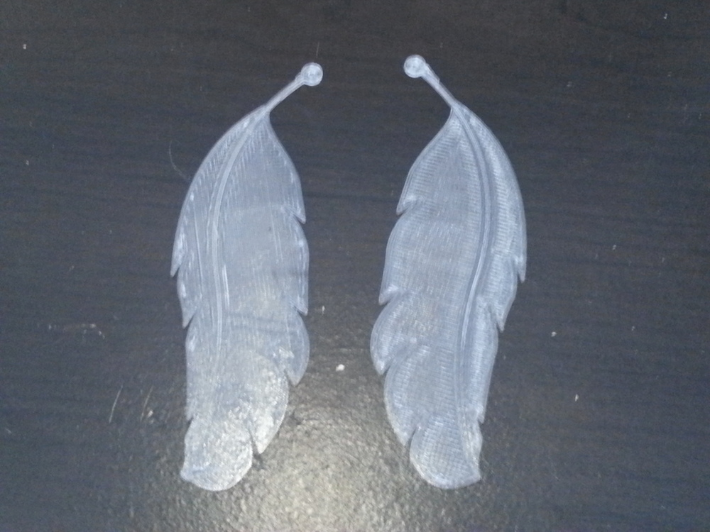 Feather Earrings Makergear M2 - 0.2mm layers - Clear PET