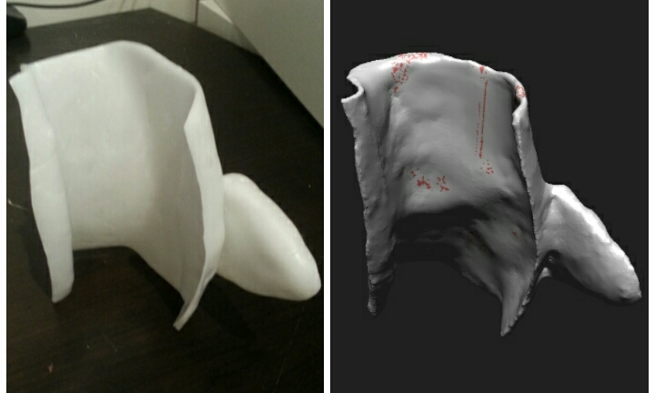 Hand formed sculpture vs 3d Scanned Model