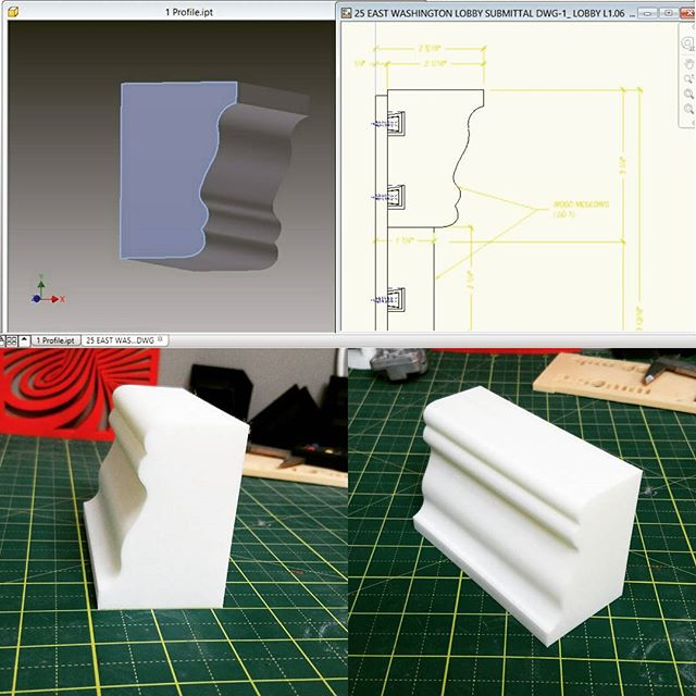 Modeled and printed a section of a baseboard profile for a local woodworking company.  The quick turn around from #3dprinting saves them valuable time and money.  #3dprint #3dprinting #3dmodeling #3dmodel #3p3d #chicago #cadmodeling #cad #drafting #digitaldesign #Autodesk #autodeskinventor #desktopmanufacturing #functionalprototype #functionalprint #rapidprototyping #additivemanufacturing