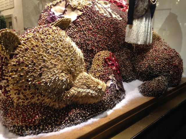 A sleeping bear, intricately assembled by countless tiny spools of thread. I wish I had taken photos of the work while it was still in progress to illustrate the time and effort that went into this unique creature.