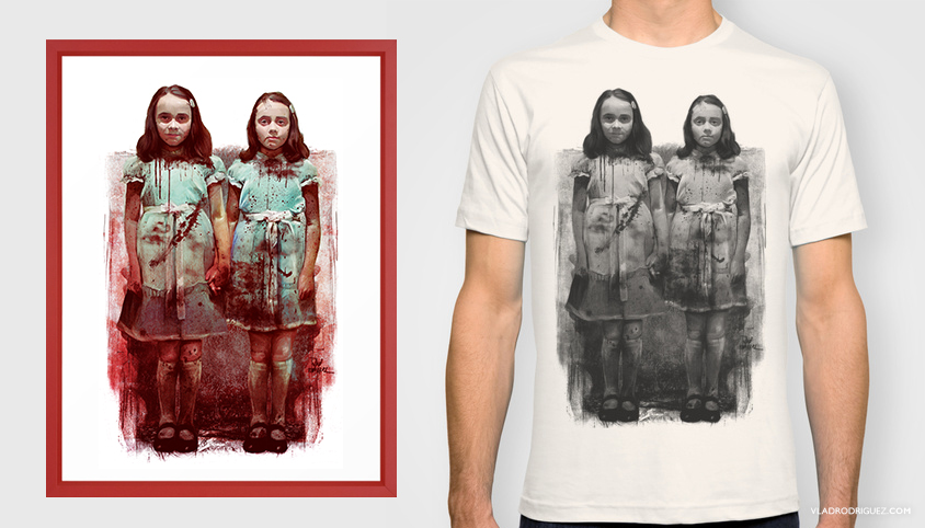 Painting inspired by the movie 'The shining and 'The Grady's twins'.