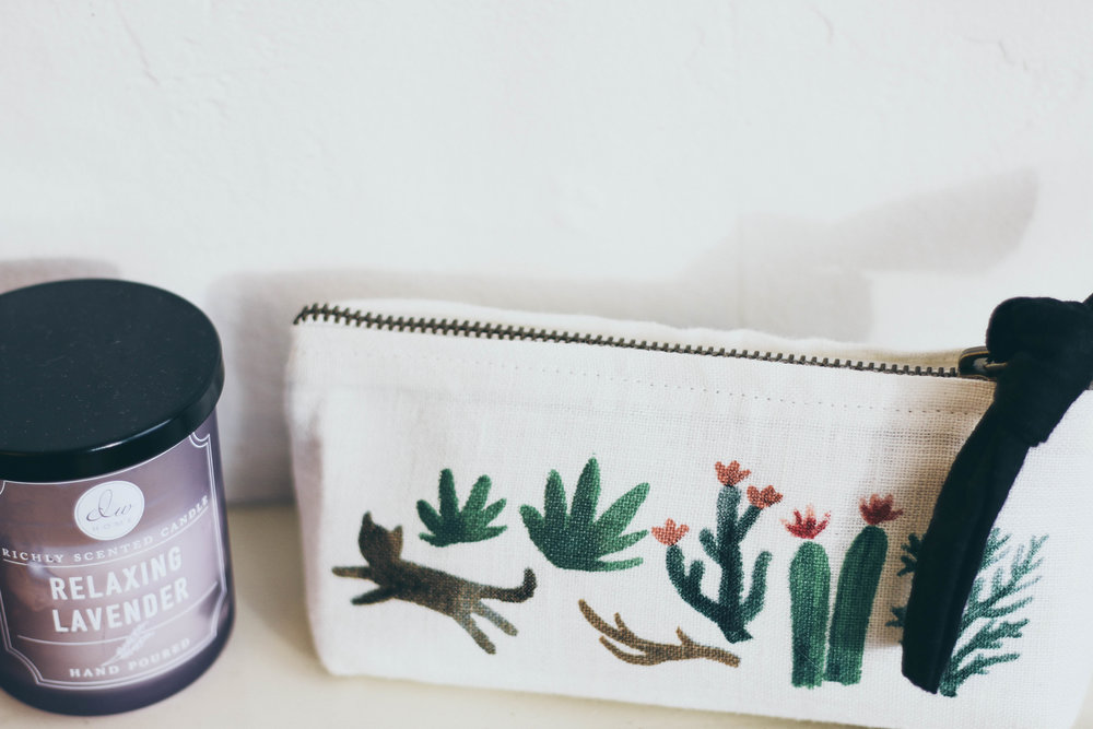 I keep all of my essential oils in this adorable pouch I got from  Atticus Coffee & Gifts downtown Spokane.