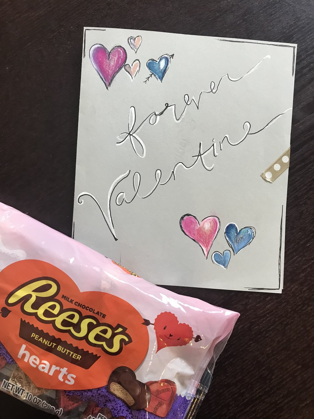 The card I made for Nick this year <3 and of course his favorites, Reese's.