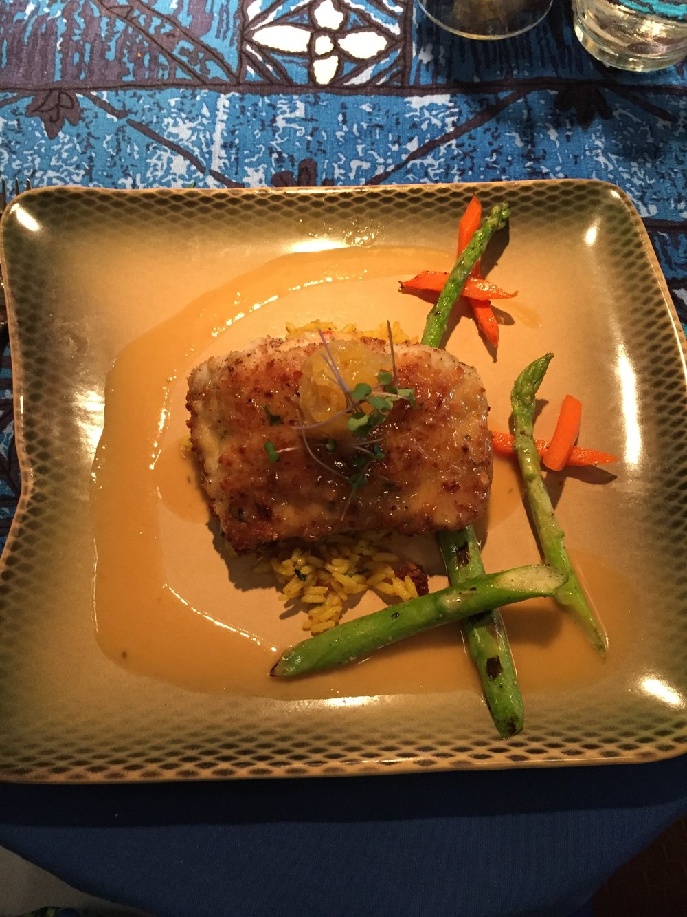 Mahimahi: Caught by Alan Cadiz trolling with live Opelu along the north shore, stuffed with Deep Sea Red Crab and baked in a Macadamia Nut crust. The perfect combination of flavours and cooked to perfection!!
