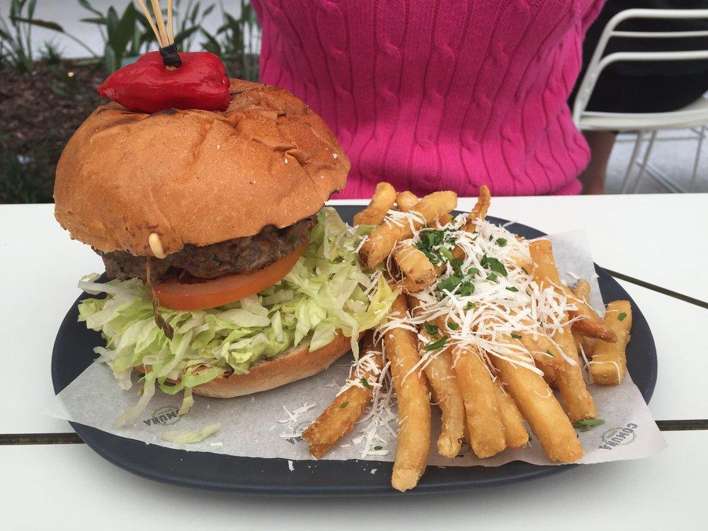 TORTAS - Beef Burger: Comuna beef burger, guacamole, chipotle aioli, lettuce, tomato, pickled onion