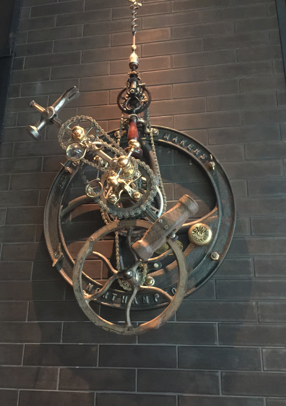 This piece is an interpretation of the first automated spit roasts mechanism invented by the British clockmakers of Greenwich