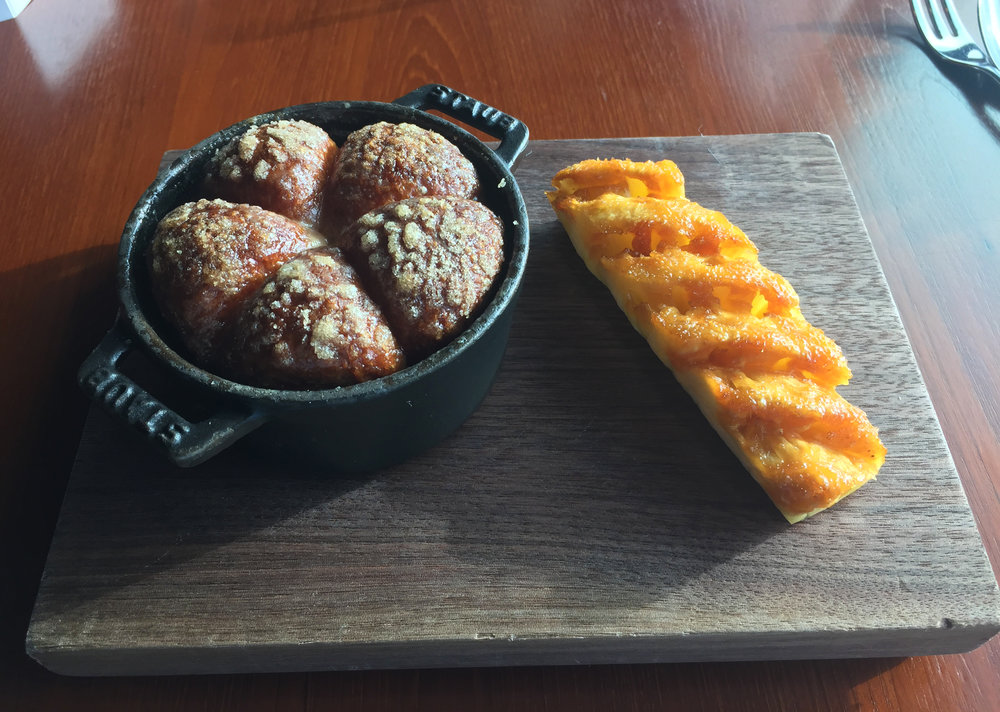 DESSERT - Tipsy Cake (c.1810): Spit roast pineapple and baked brioche
