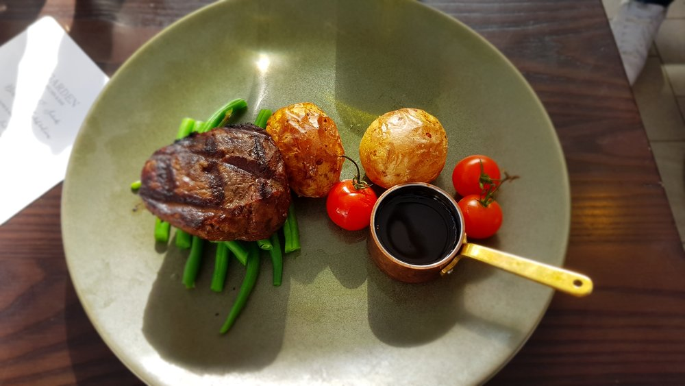 OAKEY TENDERLOIN: Grass fed, grain finished tenderloin, roasted chat potatoes, french beans, red wine jus