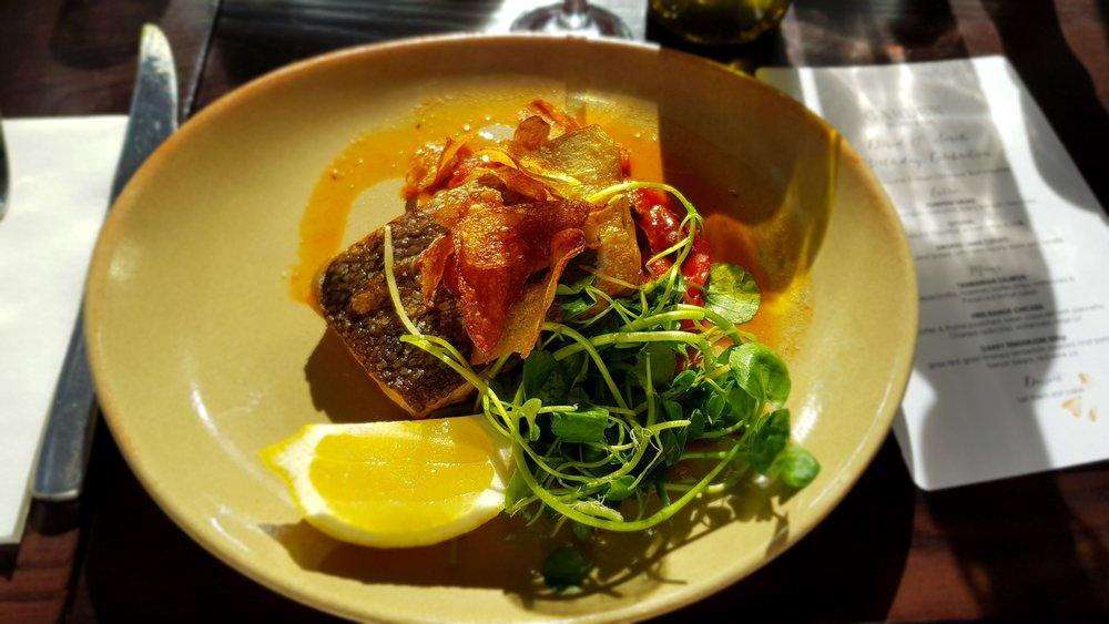 TASMANIAN SALMON: Peperonata, rosemary kipfler chips, watercress and preserved lemon salad