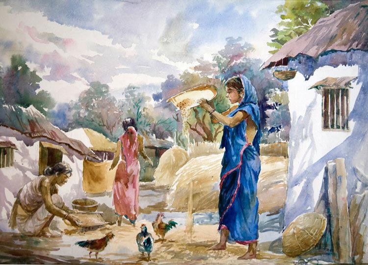 Bengali Village Life   24″ X 36″ US$ 350.00 + shipping & handling
