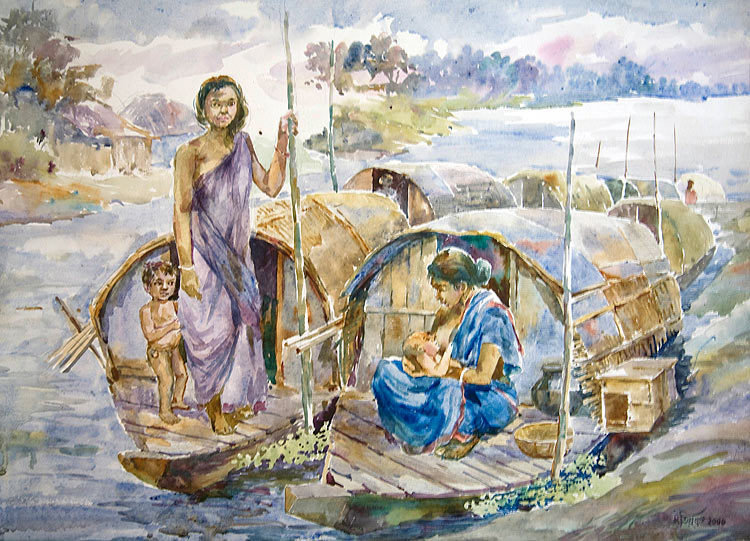 Boats as Houses  24″ X 36″ US$ 350.00 + shipping & handling