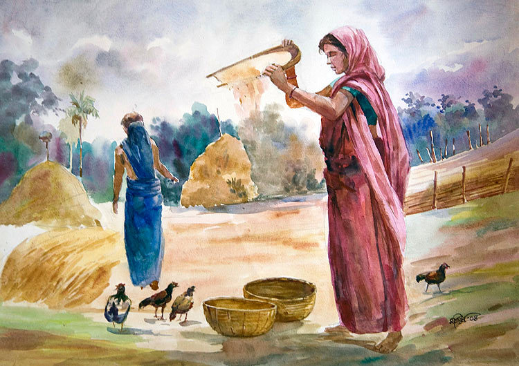 "Two Women Feeding Chickens  24"" X 36"" US$ 350.00 + shipping & handling"