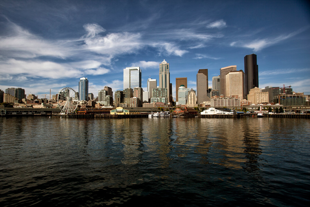 Downtown Seattle from the ferry.