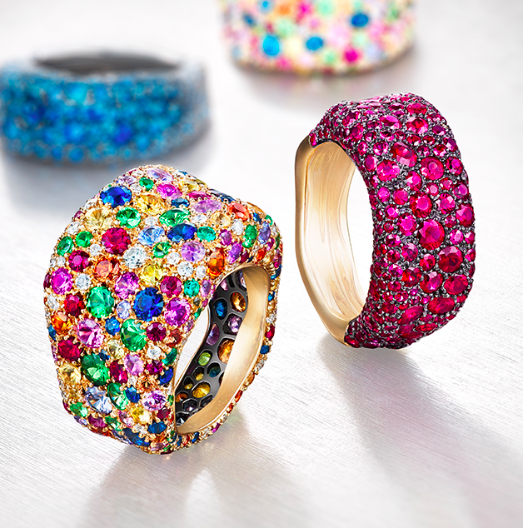 Emotion Rings: Multi colour and Rubies