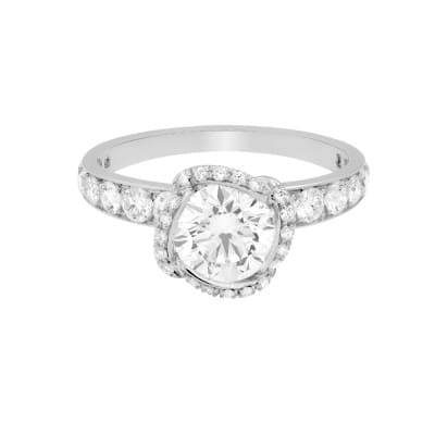 FLEUR CÉLESTE RING - Platinum paved engagement ring with a white diamon